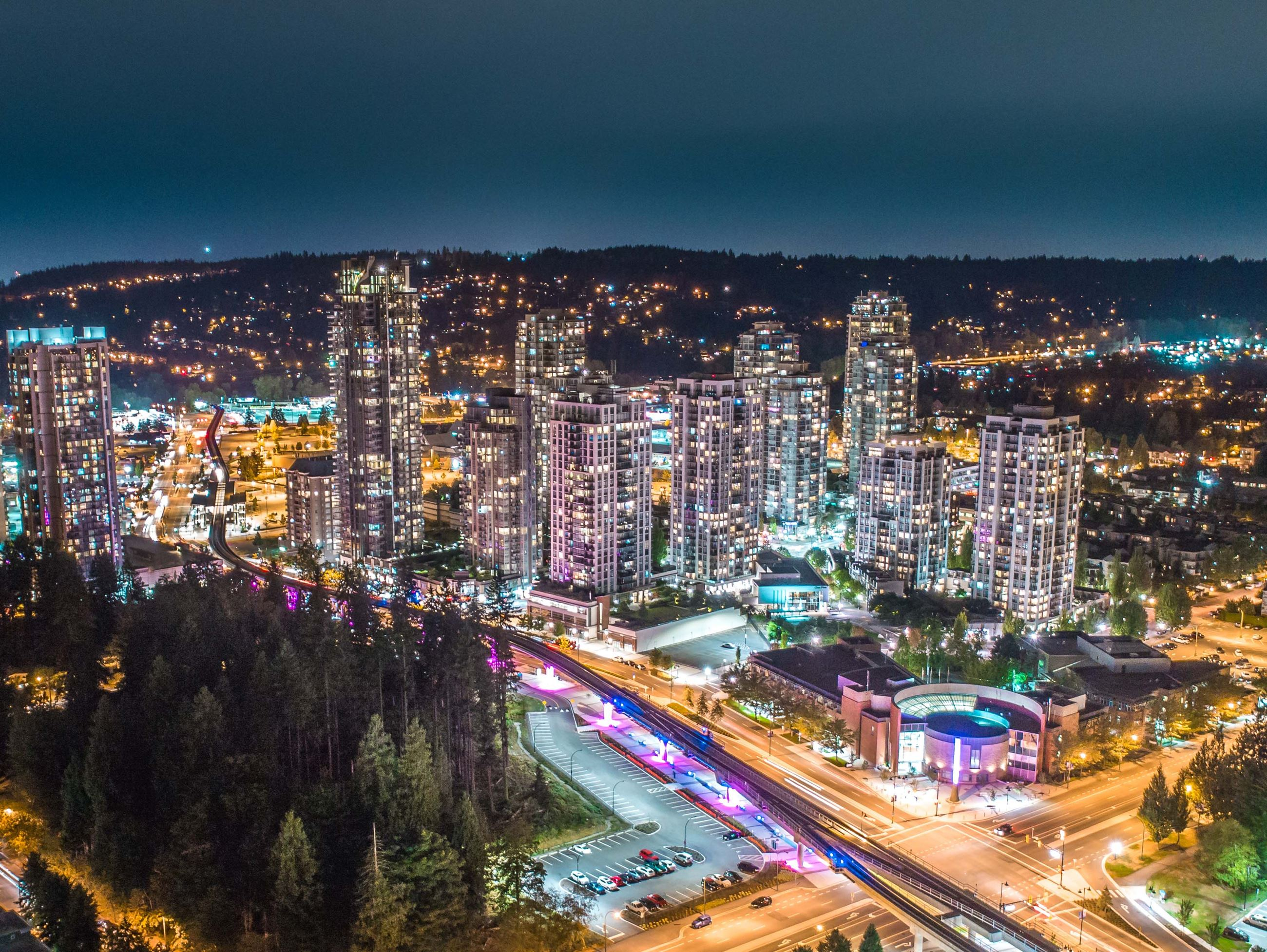 Aerial image of Coquitlam's City Centre at night