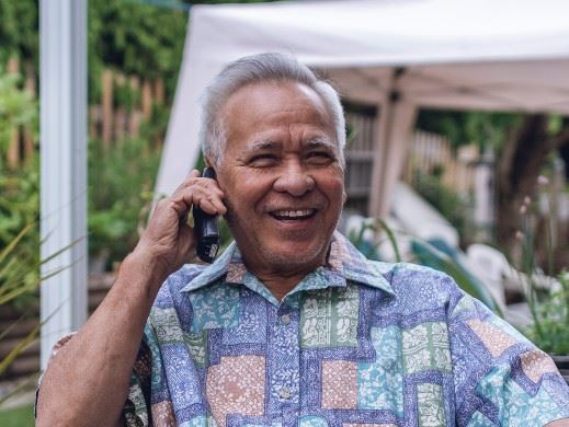 Senior talking on the phone