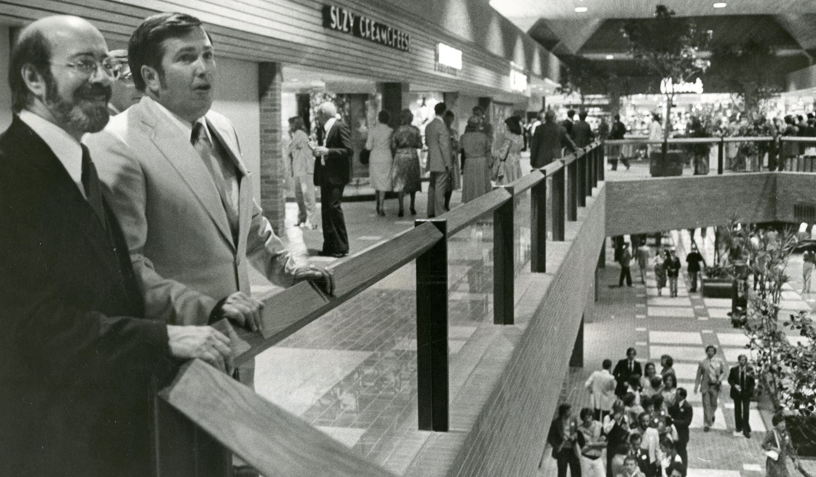 Ira Young and Jim Tonn Survey the Coquitlam Centre on Opening Day (JPG) Opens in new window
