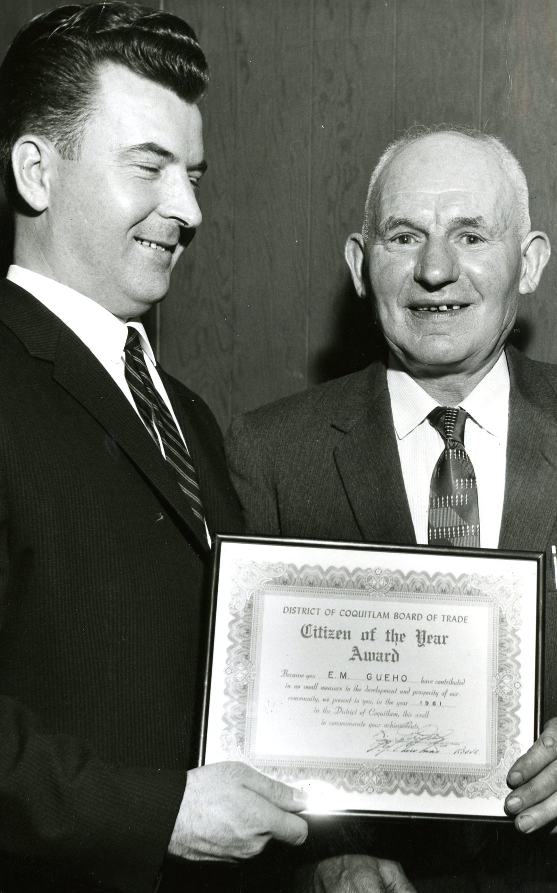 E.M. (Manny) Gueho Receives His Citizen of the Year Award, 1961 (JPG) Opens in new window