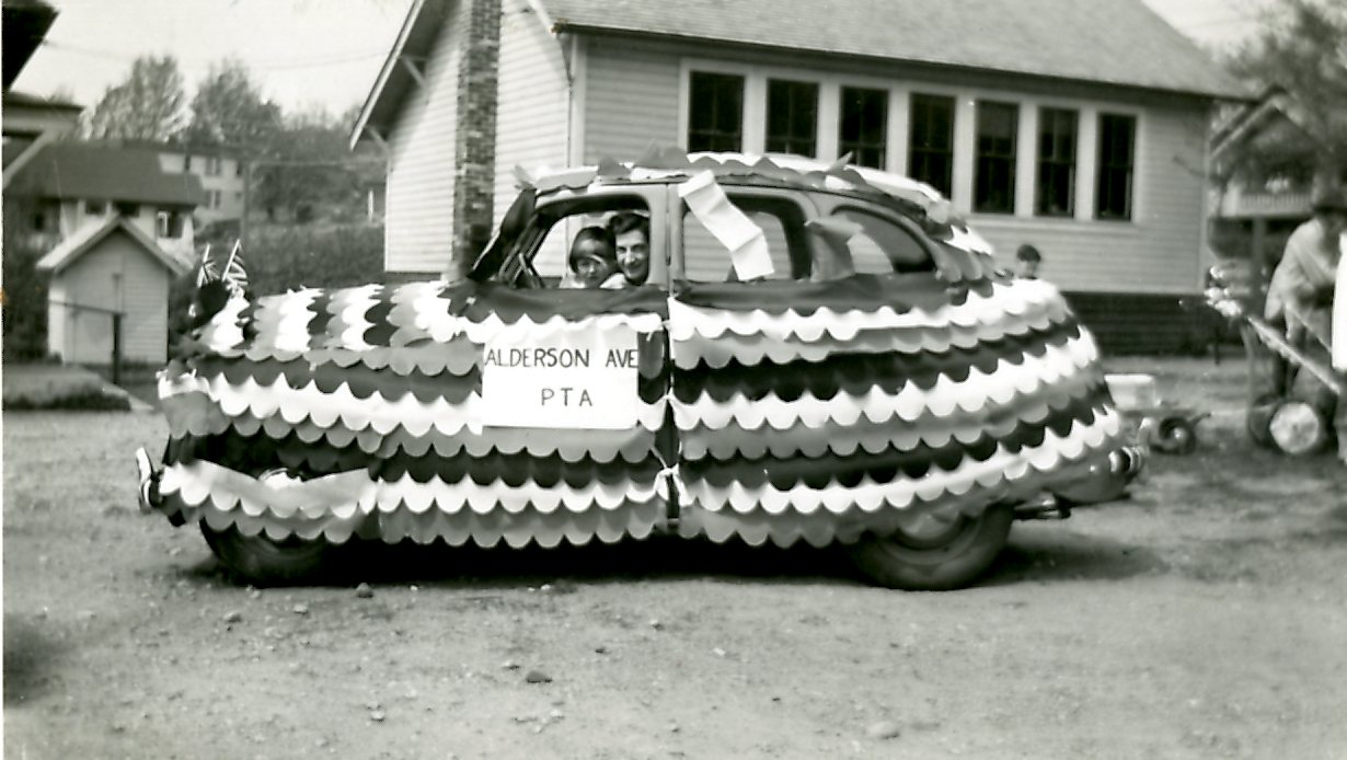 Mrs. Petersen's Car Decorated by the PTA in the May Day Parade, 1954 (JPG) Opens in new window