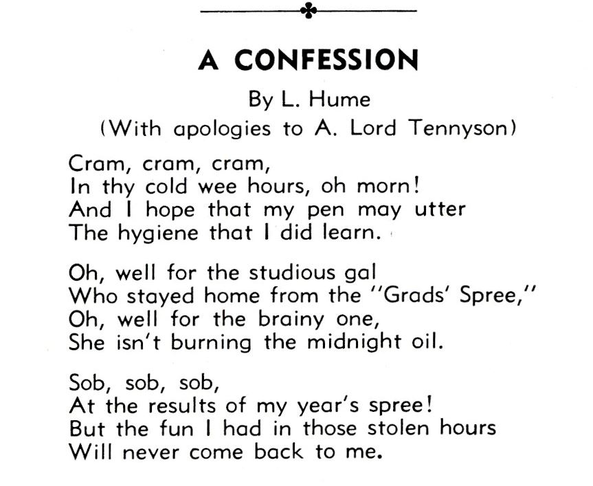 Poem by Lucille Hume in Nursing Annual